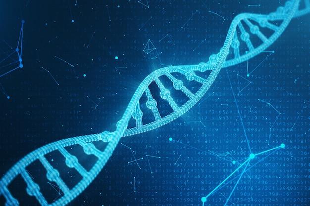 Molécula de dna digital, estrutura. genoma humano do código binário do conceito. molécula de dna com genes modificados. ilustração 3d