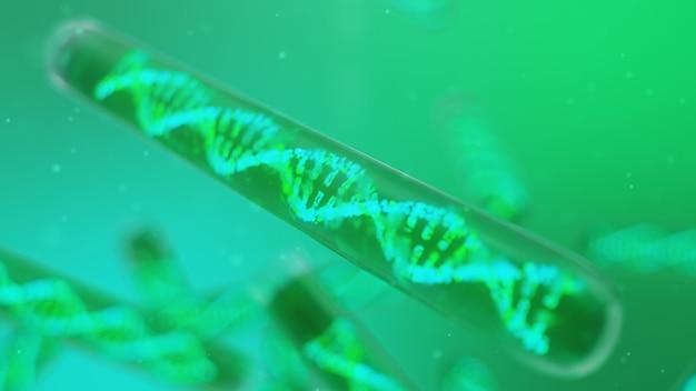 Molécula de dna, sua estrutura. genoma humano do conceito. molécula de dna com genes modificados. ilustração conceitual de uma molécula de dna dentro de um tubo de ensaio de vidro com líquido. equipamento médico, ilustração 3d