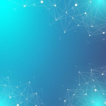 Molécula de fundo gráfico geométrico e comunicação. complexo de big data com compostos. plexo de linhas, arranjo mínimo. visualização de dados digitais. ilustração científica cibernética.