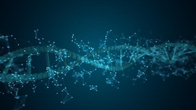 Molécula de varredura de dna de dígitos abstratos para biologia, biotecnologia, química, ciência, medicina, cosméticos, médicos, plano de fundo