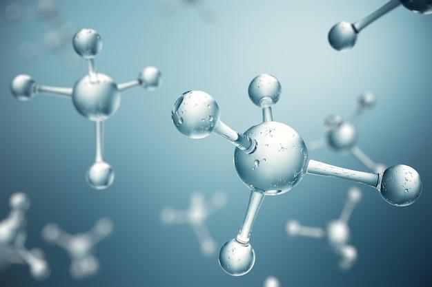 Moléculas de ilustração 3d. átomos bacgkround. formação médica para banner ou panfleto. estrutura molecular no nível atômico.
