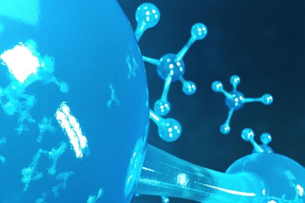 Moléculas de renderização 3d. átomos bacgkround. médico para banner ou panfleto. estrutura molecular no nível atômico.