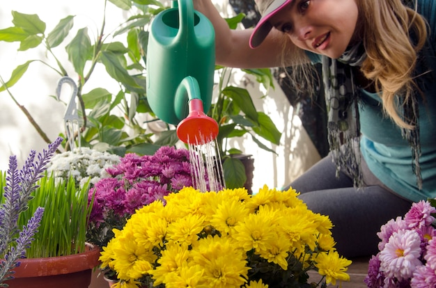 Molhar a casa botânica jardim close-up vista