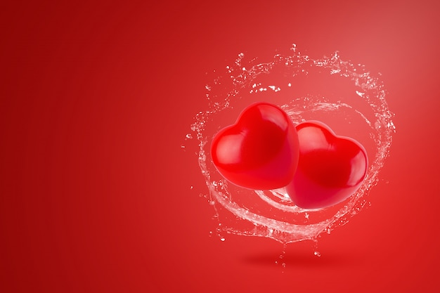 Molhe salpicos em corações vermelhos sobre fundo vermelho. conceito dia dos namorados