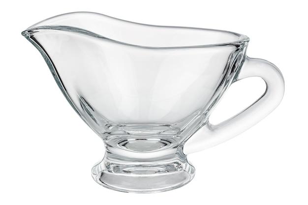 Molheira de vidro transparente vazio isolada no fundo branco