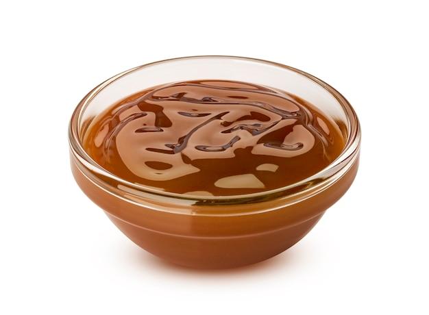 Molho de caramelo na tigela de vidro