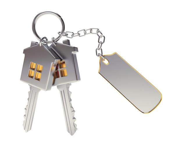Molho de chaves de casa com chaveiro em branco