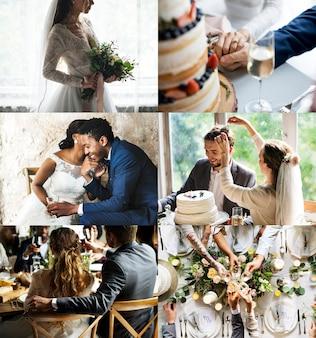 Momento romântico de colagem de cerimônia de casamento