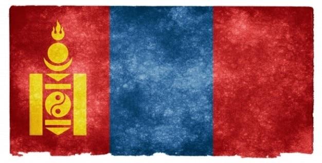 Mongolia bandeira do grunge