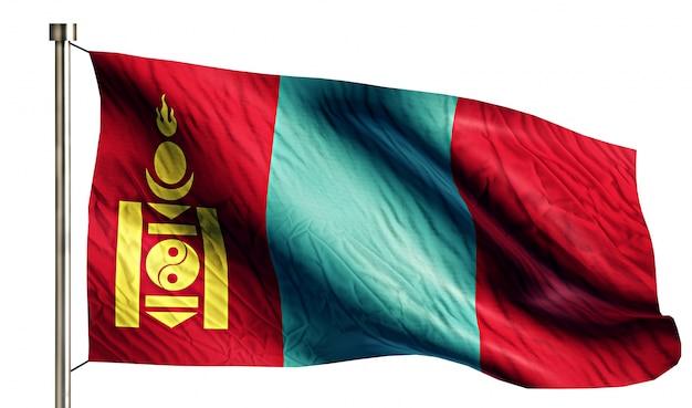 Mongólia bandeira nacional isolada 3d fundo branco