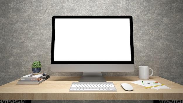 Monitor de computador moderno de tela plana. renderização em 3d
