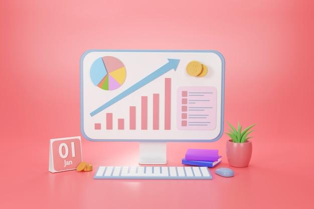 Monitor de gráfico de forma analítica de dados de baixo a alto para o conceito de desenvolvimento de marketing on-line do site, renderização em 3d