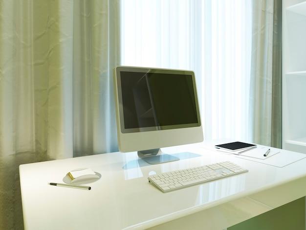 Monitor de pôster de maquete na área de trabalho no interior contemporâneo. 3d render.