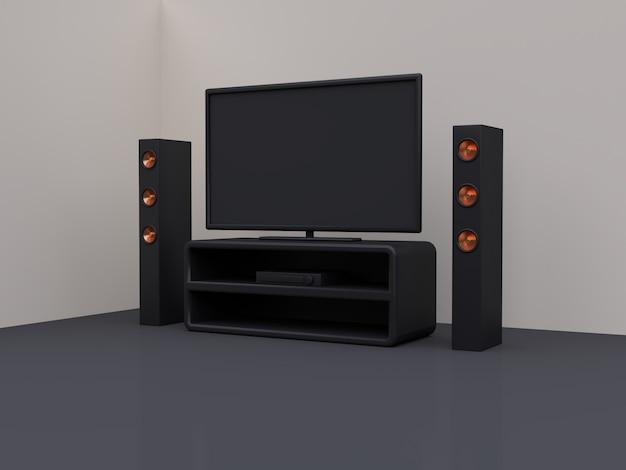 Monitor de televisão na sala rosa cena azul renderização em 3d, home theater, conceito de entretenimento