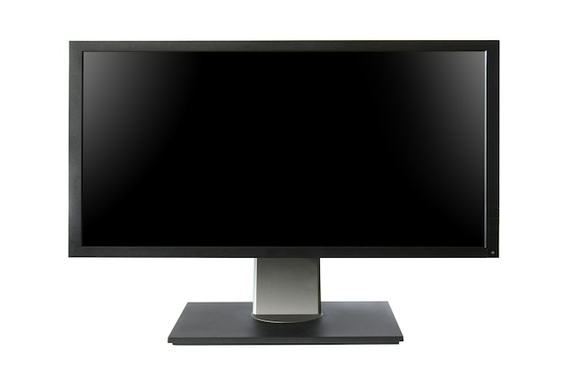 Monitor lcd amplo com tela preta isolada no fundo branco