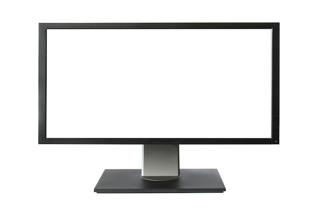 Monitor lcd amplo com tela vazia isolada no fundo branco