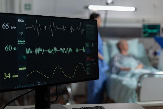 Monitor na enfermaria do hospital mostrando bmp do paciente