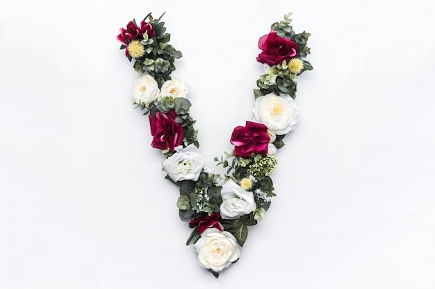 Monograma floral da flor letra v