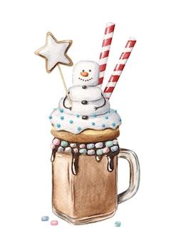 Monster christmas shake com boneco de neve segurando estrela de gengibre. sobremesa festiva em uma jarra