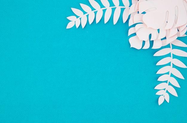 Monstera branco deixa o quadro com cópia espaço azul de fundo