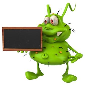 Monstro de germe 3d divertido segurando uma lousa