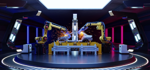 Montagem automotiva robótica em sci fi.