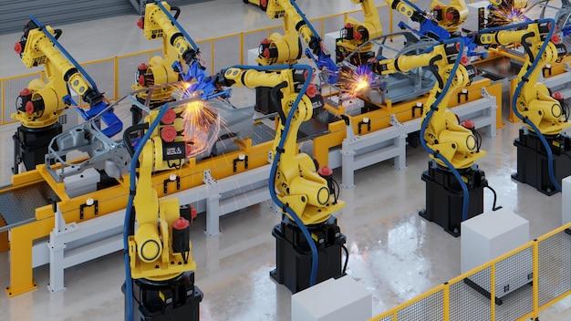 Montagem automotiva robótica na fábrica.