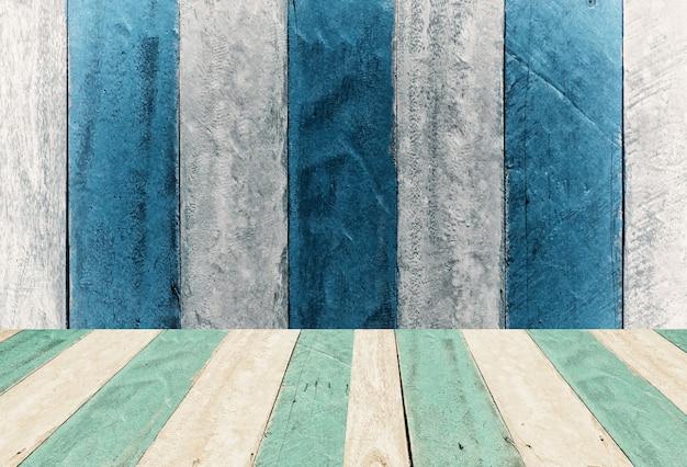 Montagem de painel de madeira vintage azul e branco, plano de fundo de exibição
