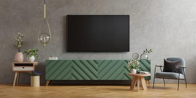 Montagem de parede de tv em gabinete na sala de estar moderna parede de concreto, renderização em 3d