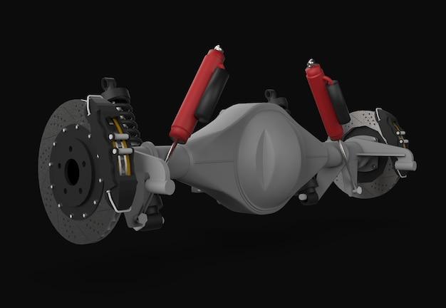 Montagem do eixo traseiro com suspensão e freios amortecedores vermelhos