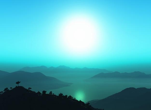 Montanha 3d contra o céu do por do sol