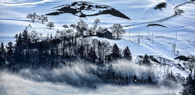 Montanha com neve e nevoeiro