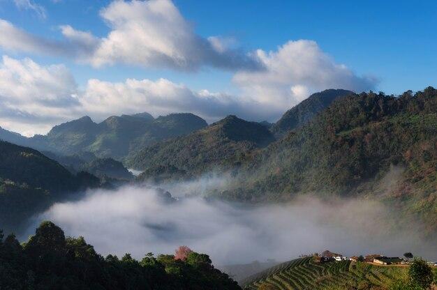 Montanha com névoa.