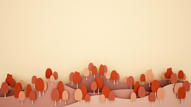 Montanha e árvores cor quente e espaço para adicionar mensagem.