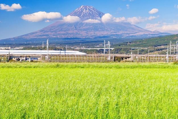 Montanha fuji com campo de arroz.
