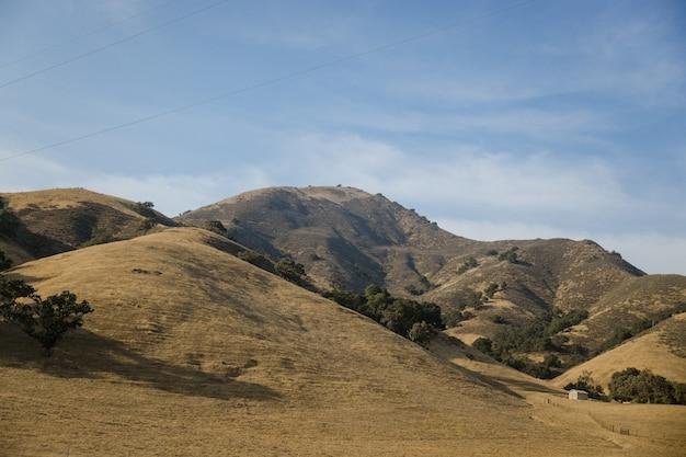 Montanha marrom e verde sob o céu azul durante o dia