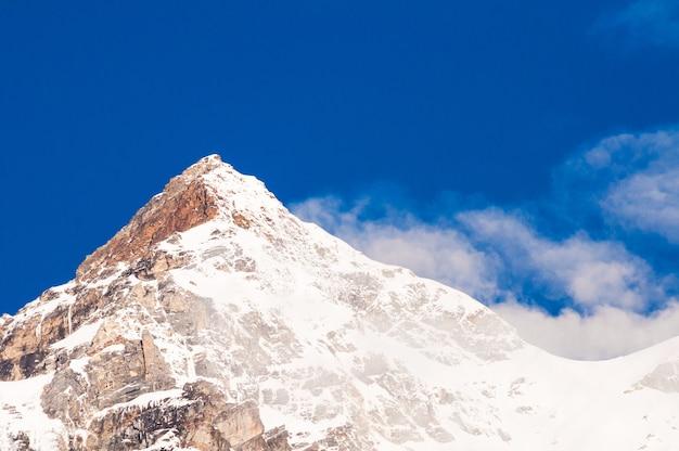 Montanha neve, com, céu azul, em, sikkim, índia