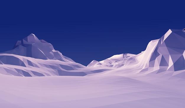 Montanha poli da neve da paisagem da ilustração 3d baixa.