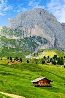 Montanha seceda com relva verde