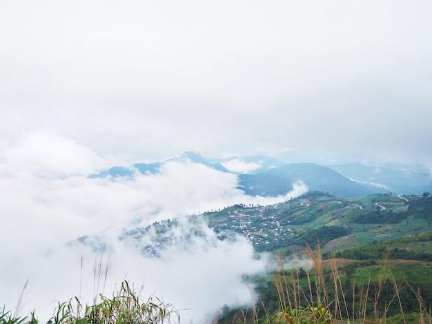 Montanha verde e fundo de nevoeiro branco