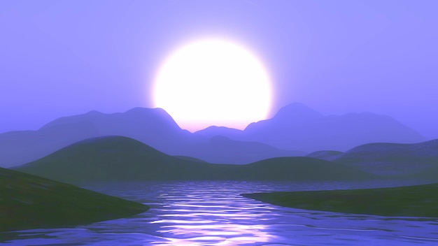 Montanhas 3d e lago contra um céu roxo do sol
