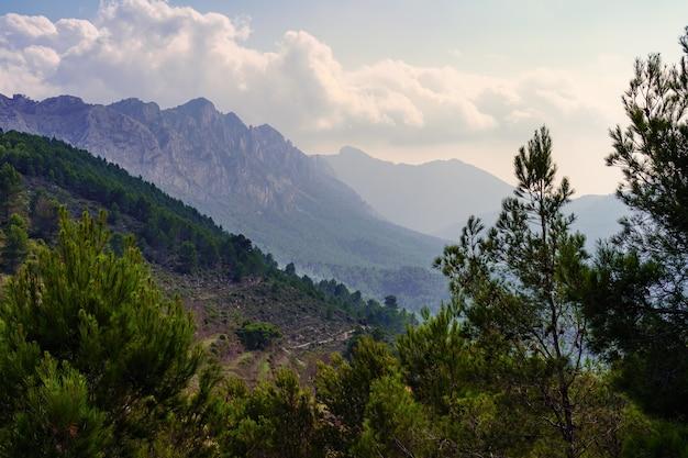 Montanhas com névoa ao pôr do sol em um dia ensolarado de verão.