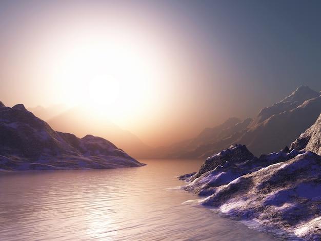 Montanhas contra um céu pôr do sol