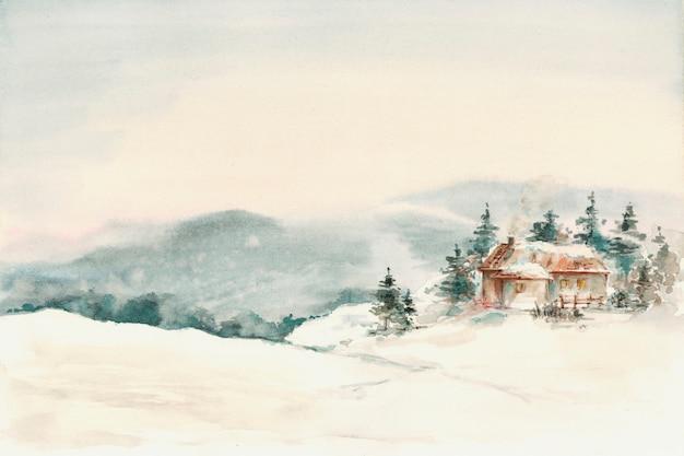 Montanhas de paisagem de inverno cabana com neve spruce