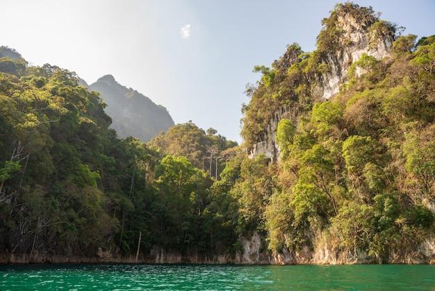 Montanhas de pedra calcária com árvores no mar na tailândia
