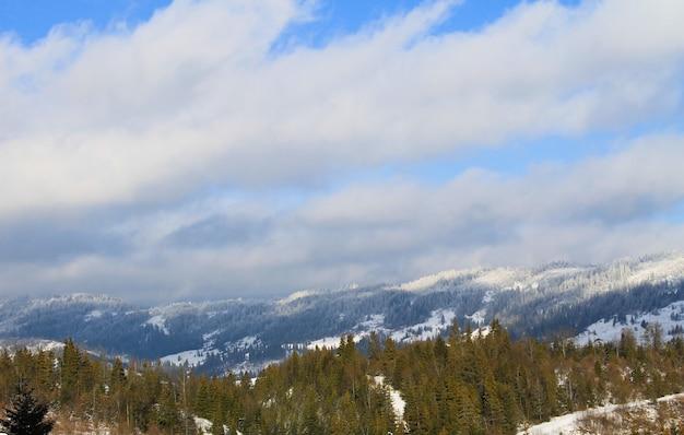 Montanhas dos cárpatos na ucrânia. paisagem de inverno