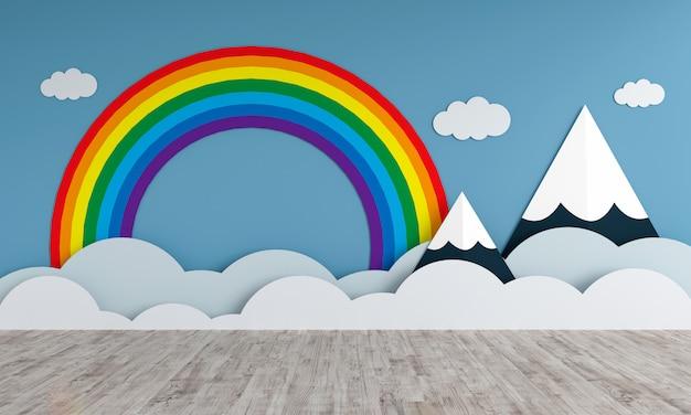 Montanhas e arco-íris na sala de crianças vazias para maquete