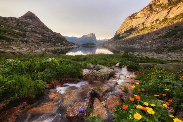 Montanhas e lagos fabulosos, viagens e caminhadas, vegetação exuberante e flores ao redor. descongelou a água da nascente das montanhas. vistas mágicas de altas montanhas, prados alpinos