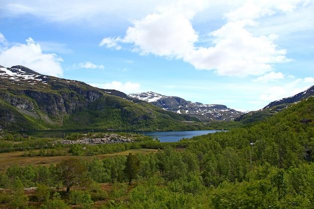 Montanhas e vales ao longo de flamsbana, the flam railway, noruega