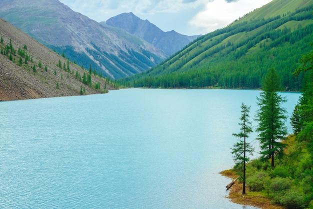 Montanhas incríveis com floresta de coníferas e rio azul